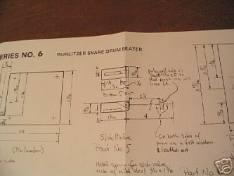 Wurlitzer snare drum beater plans by W.J. Kerchner